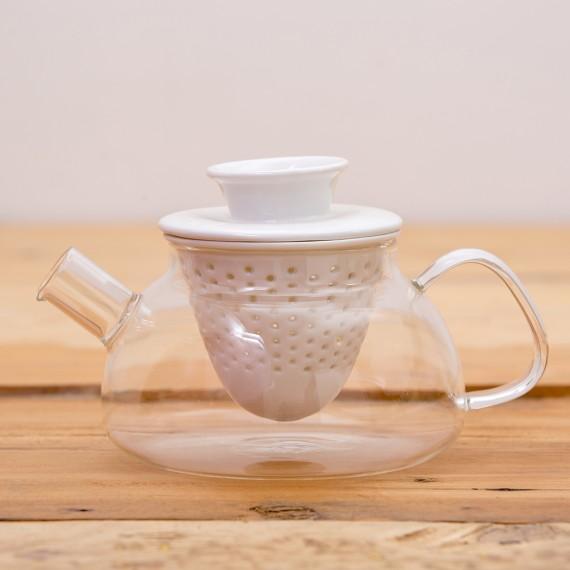 Teiera in vetro con filtro in ceramica
