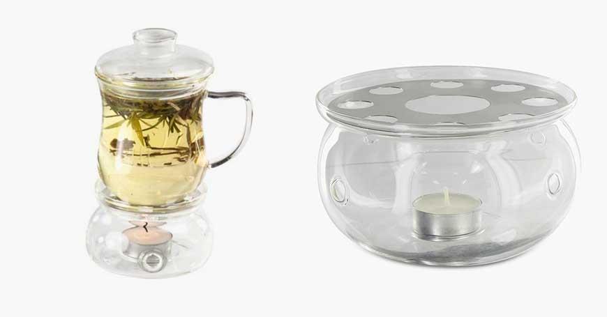 tisaniera con warmer per conservare tè e tisane dopo l'infusione