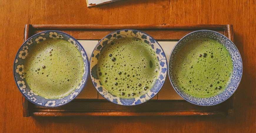 tazze di tè matcha giapponese
